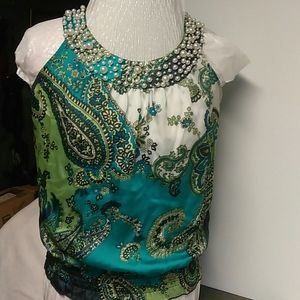 Signature by Larry Levin Pearl Embellished Tanktop